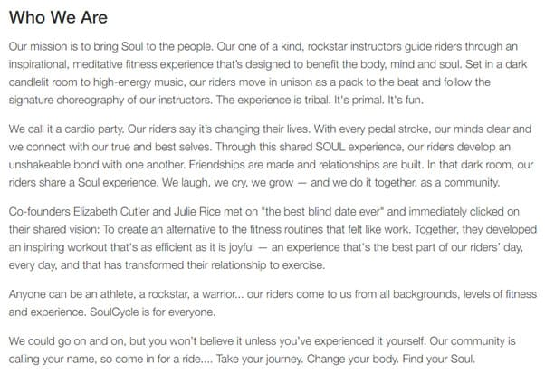 soulcycle copy example